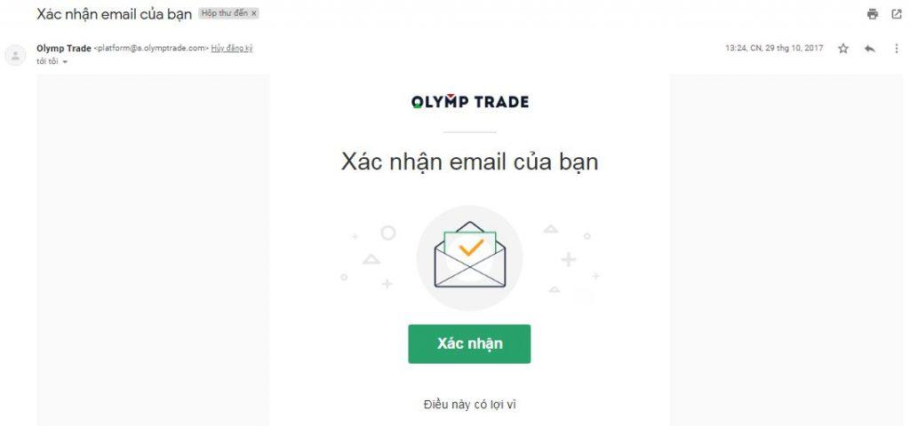 Xác minh tài đăng ký tài khoản Olymp trade