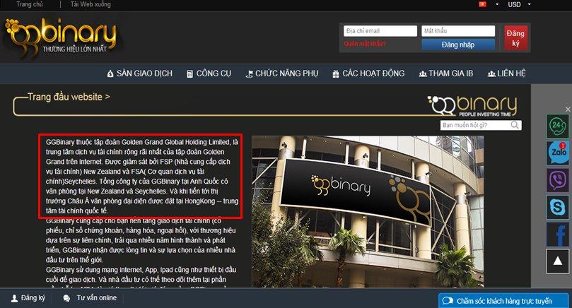 Thông tin sàn Ggbinary.com