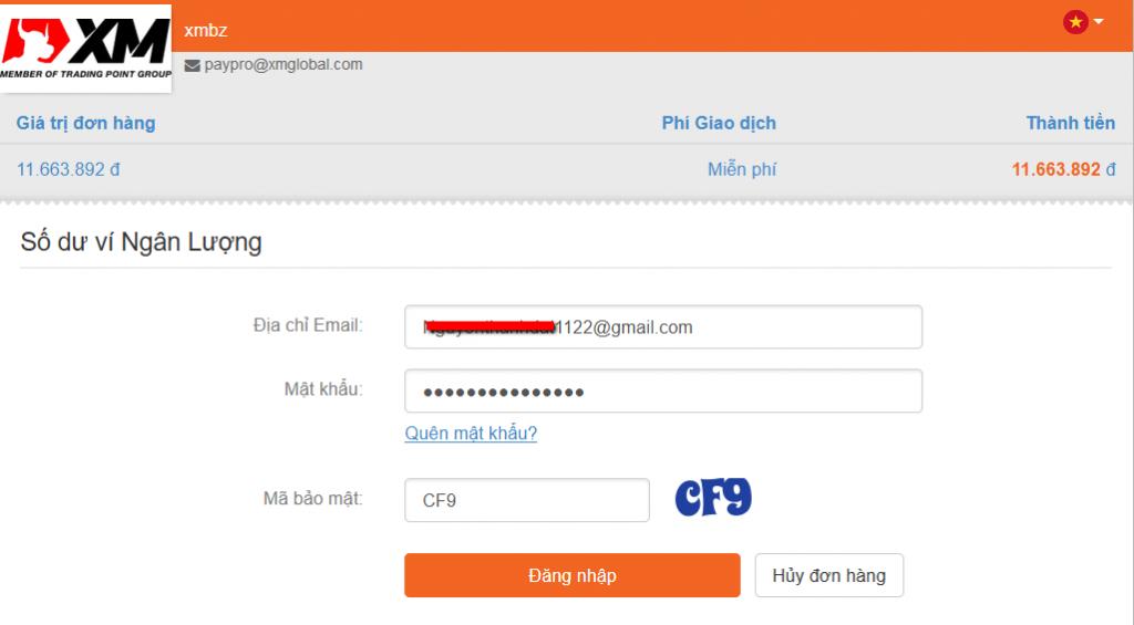 Cách nạp tiền vào sàn xm.com bằng ngân lượng 3